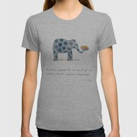 Polka Dot Elephants Serv… Womens Fitted Tee Athletic Grey SMALL