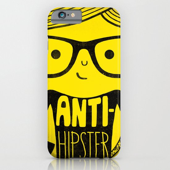 Anti-hipster - yellow iPhone & iPod Case