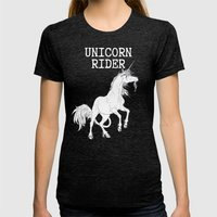 Unicorn rider Womens Fitted Tee Tri-Black SMALL
