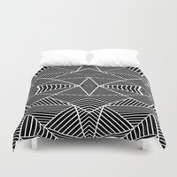 Ab Zoom Mirror Black Duvet Cover