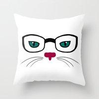 Hipster Cat Throw Pillow