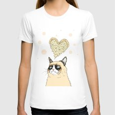 Grumpy Pizza Love Womens Fitted Tee White SMALL