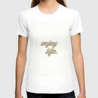 Enjoy Life Womens Fitted Tee White SMALL