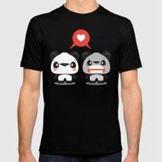 Panda Love Mens Fitted Tee SMALL Black