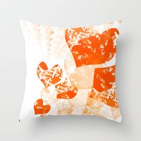 Heart - Orange Throw Pillow