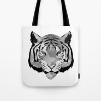 Tiger B&W Tote Bag