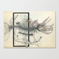Rose-Fish-bone Dinosaur Canvas Print