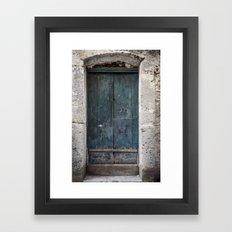 Green Door with Heart Framed Art Print