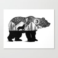 THE BEAR AND THE WOLF Canvas Print