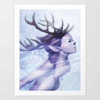 Deer Princess Art Print