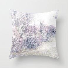 Snow in early fall(2). Throw Pillow