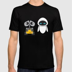 Wall-E and Eve Black Mens Fitted Tee SMALL