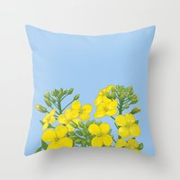 Summer flower in yellow Throw Pillow