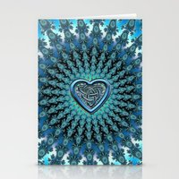Celtic Heart Knot Fractal Mandala Stationery Cards