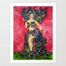The Black Iris Flower Fairy Art Print