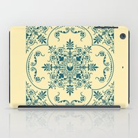Decorative Pattern in Creme and Blue iPad Case