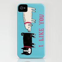 iPhone 4s & iPhone 4 Cases featuring I Like You. by gemma correll