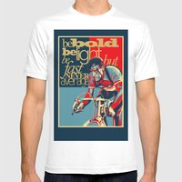 Retro Cycling Print Post… Mens Fitted Tee White SMALL