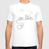 On Line Mens Fitted Tee White SMALL