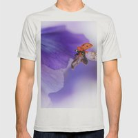 Ladybird on violet Mens Fitted Tee Silver SMALL