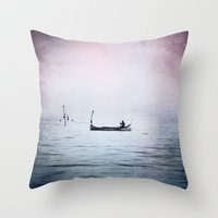 The Lonely Man and The Infinite Sea Color Version Throw Pillow
