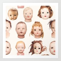 Doll Heads Pink Art Print