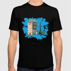 Paris Mens Fitted Tee Black SMALL