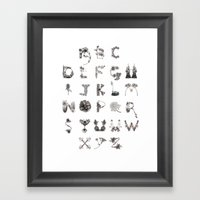 Floral Alphabet  Framed Art Print