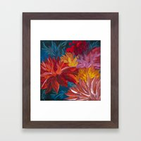 Fiery Dahlia Blossoms Framed Art Print