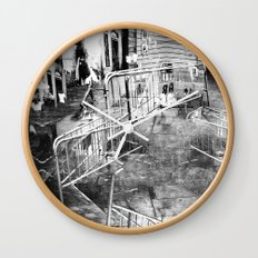 Summer space, smelting selves, simmer shimmers. 21, grayscale version Wall Clock