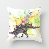 Stegosaurus Dinosaur in Splash of Color Throw Pillow