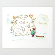 A Friendly Snow Monster Art Print