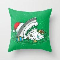 The Santa Shark Throw Pillow