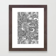 Flowers and doodles Framed Art Print