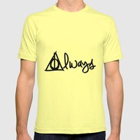 Always, Deathly Hallows, Harry Potter Mens Fitted Tee Lemon SMALL