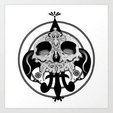 skull and pen Art Print