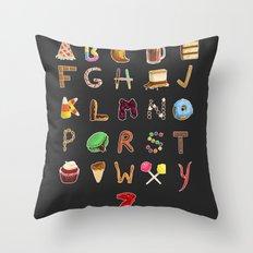 Dessert Alphabet  Throw Pillow