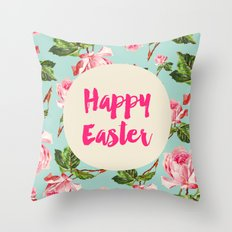 Happy Easter Floral Throw Pillow
