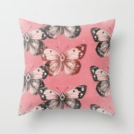 Butterfly - Red Throw Pillow