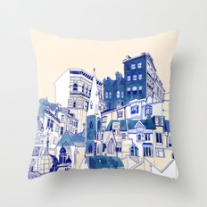 Blue Buildings Throw Pillow