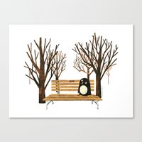 Met a Penguin in the Park Canvas Print