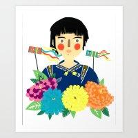 Flower Kite Art Print