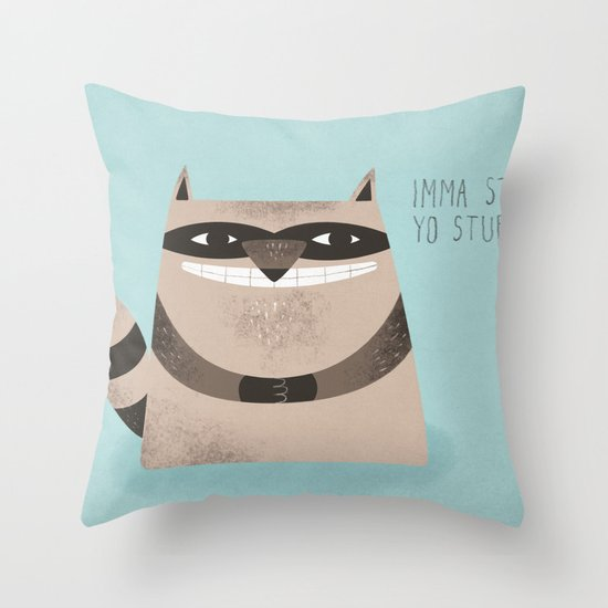 Sneaky Raccoon Throw Pillow
