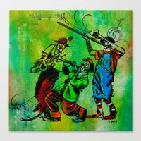 Canvas Print featuring Jazzy Clowns by James Davis