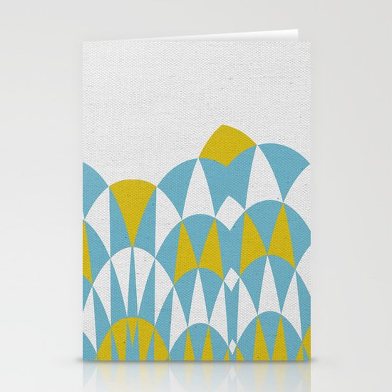 Modern Day Arches Blue and Yellow Stationery Card