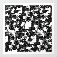 just penguins black white Art Print