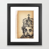 Baby crying crowned Framed Art Print