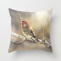 Rosy Little Finch Throw Pillow