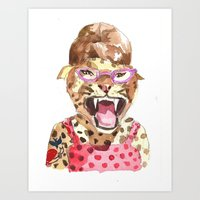 Rockabilly Leopard Art Print