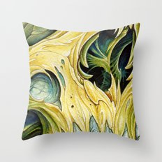 yellow water color skull Throw Pillow